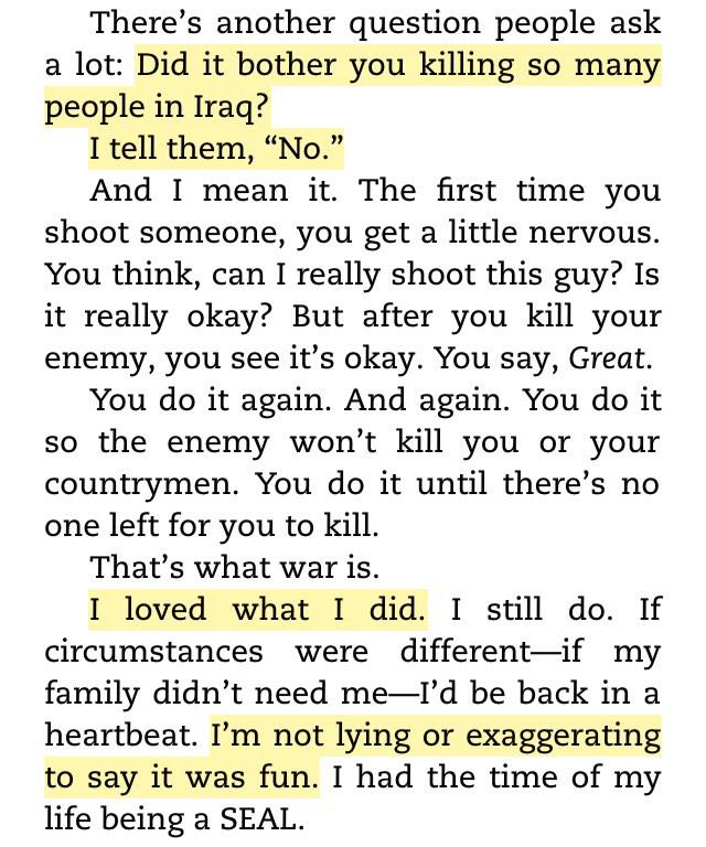 "#AmericanSniper Chris Kyle: ""I loved what I did...It was fun.I had the time of my life"" Was this part in the movie? http://t.co/A7YBYEDQ07"