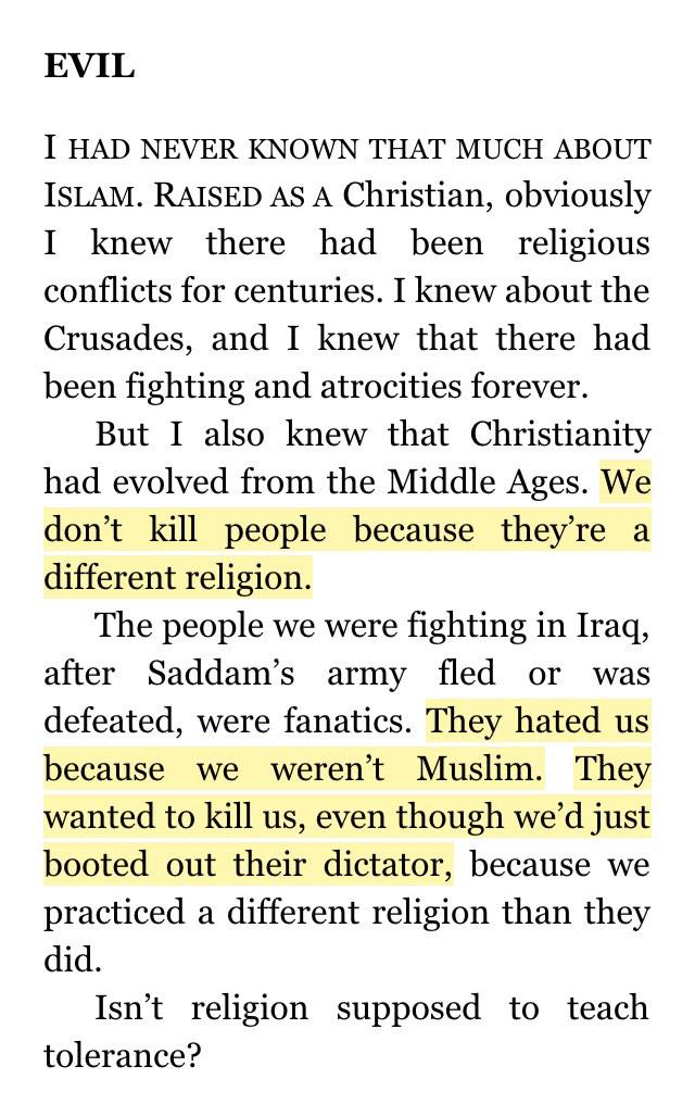 """They hated us bc we weren't Muslim. They wanted 2 kill us even though we booted out their dictator."" #AmericanSniper http://t.co/neFMJQhN3o"