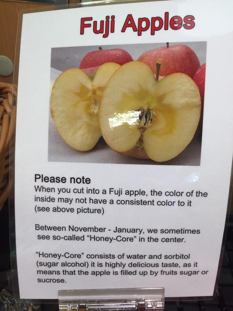 ちょっとカルチャーショック! 立て続けに外国のお客様から「フジリンゴの中が腐っている」とのクレームがあったので、お客様の目の前でリンゴを切って見せると、蜜の部分を指さして「これも腐ってる!」との事。 これは美味しさの証なんですよー! http://t.co/y1wH4SmKOS