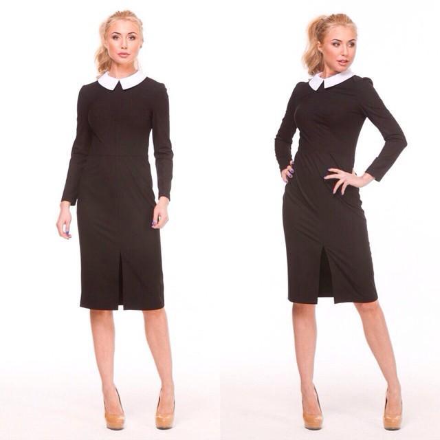 черное платье с белым воротником где выбрать в интернет магазине