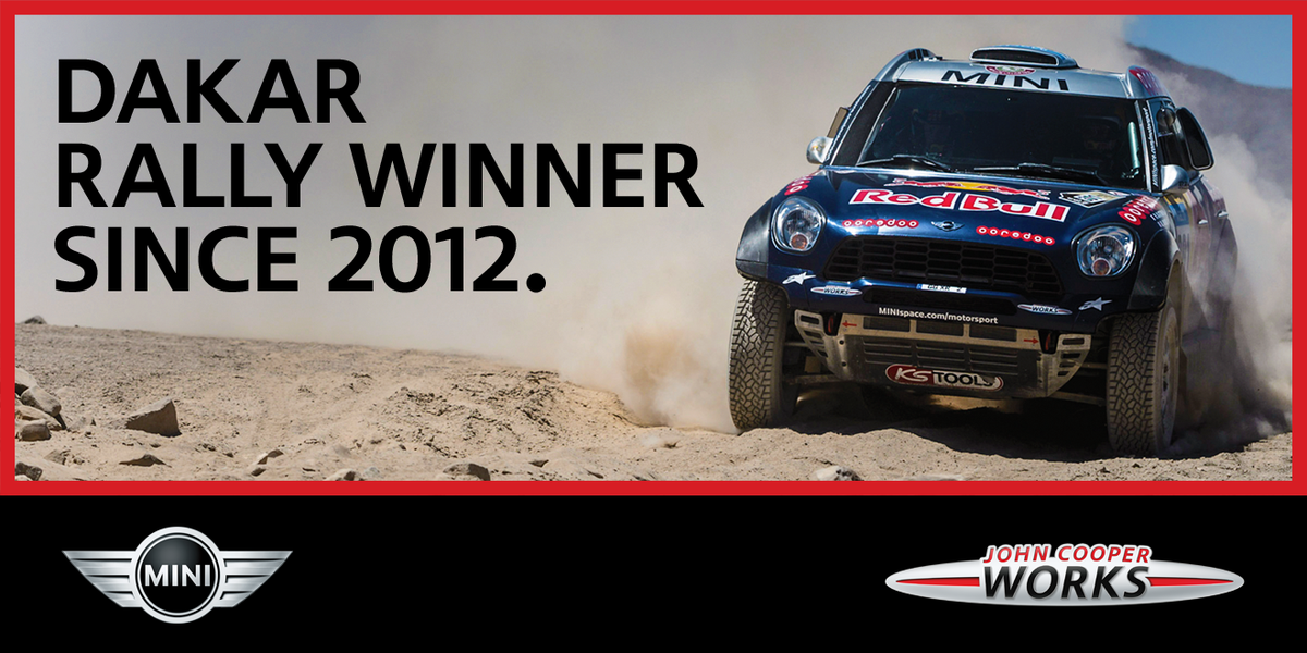 4 the win. Congrats to MINI ALL4 Racing on a 4th straight rally victory at #Dakar2015! #GoBoundless http://t.co/w7zZhE9Qju