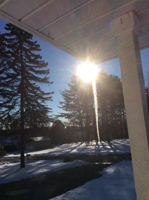 The view from our porch: dripping ice with sunlight. #walkmyworld http://t.co/zXisvx4YrX