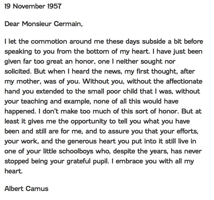 Noel Hammatt on Twitter A beautiful letter by Albert Camus to