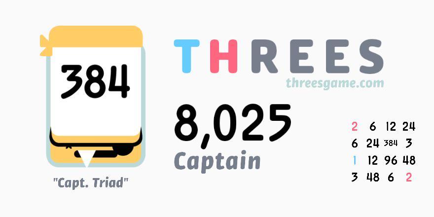 8,025 in @ThreesGame! @nicholasstoller threesgame.com