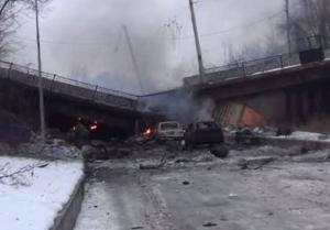 Le Pont Putilovsky Bridge, qui se situe près de l'aéroport de Donetsk, a été aussi détruit lors des bombardements.