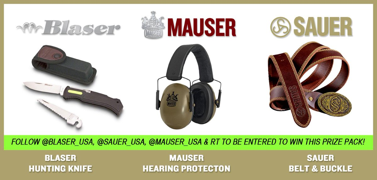 Follow @Blaser_USA, @Sauer_USA, @Mauser_USA & RT to be entered to win! Each Follow & RT is a separate chance to win http://t.co/f5qA6BQhl9