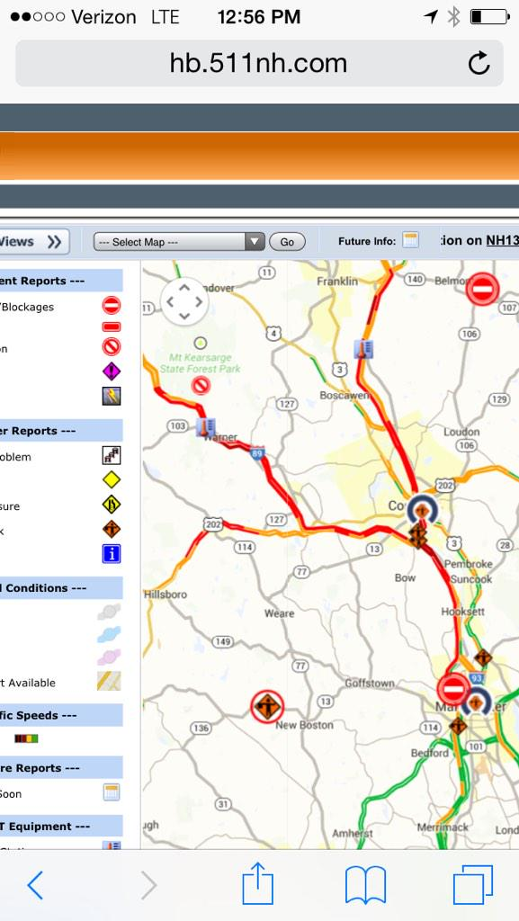 Nh Traffic Map.Nh Dot Traffic Map Shows The Trouble Spots On I 93 In Manchester And