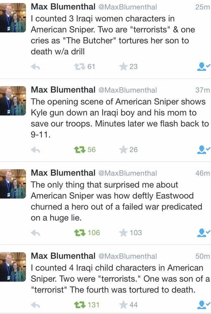 Both @MaxBlumenthal @raniakhalek are on point with their seething criticism of AmericanSniper https://t.co/OYqKGIBS3L http://t.co/vXAjlkDfnd