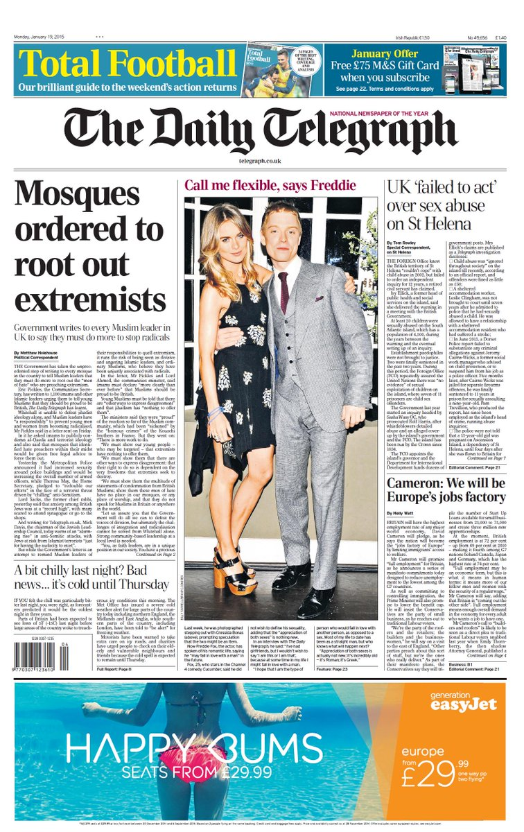 Monday's Daily Telegraph front page: Mosques ordered to root out extremists #tomorrowspaperstoday #bbcpapers http://t.co/DPF4UKH8uF