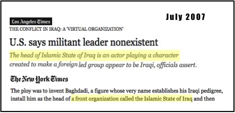 "Or in '07 when DoD tried to say ""Islamic State""/""Baghdadi"" #1 were fictional AQ creations http://t.co/ShAFg6KZOG http://t.co/0HcdwIUJi6"