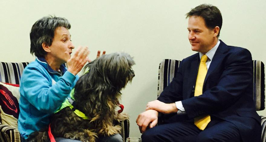 Nick Clegg meets Marion Janner @starwards with her support dog Buddy to talk about #MentalHealth  #MHConf http://t.co/LsCK9fqiwy
