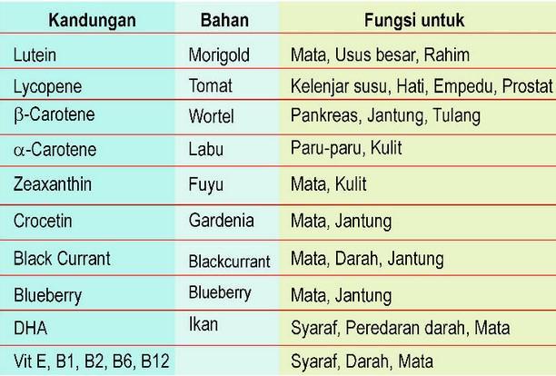 6 Kandungan herbal yang terdapat pada Super lutein Mirtoplus