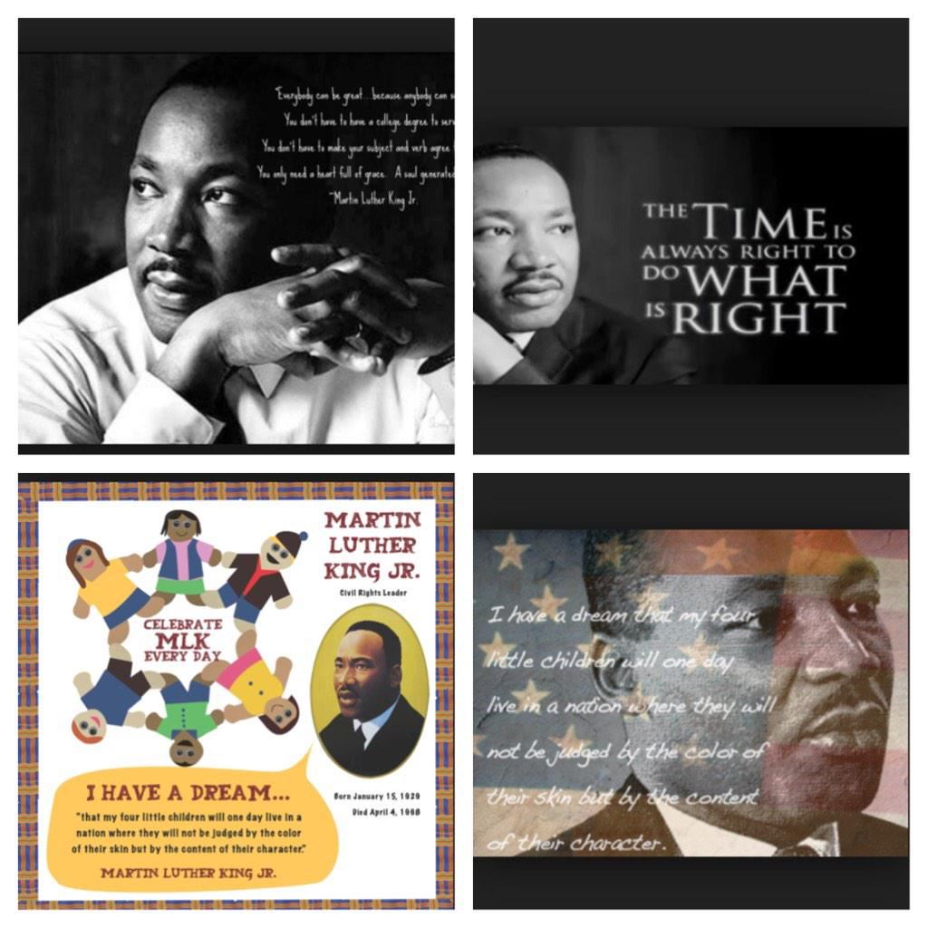 """#HappyMartinLutherKingJr.Day ! """"Don't judge a man by the color of skin but by the content of there character""""#Blessed http://t.co/UOwrK2f3xA"""