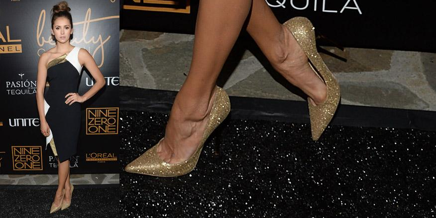 #shoesoftheday are these @JimmyChooLtd pumps worn by @ninadobrev at a salon opening in LA http://t.co/zXQRU6PybI http://t.co/21MM1dIGPl