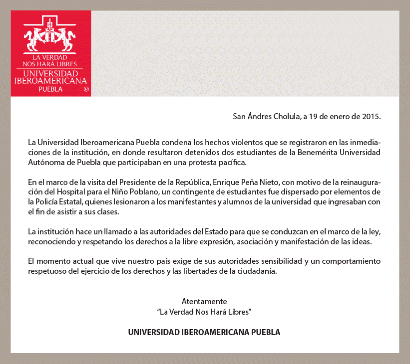 #Ibero #Puebla fija postura en torno a sus alumnos lesionados por la Policía Estatal http://t.co/iMpNbGfSQ7