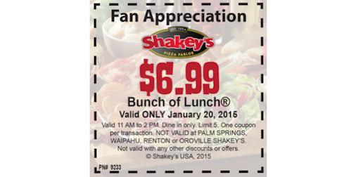 Shakey's pizza coupons