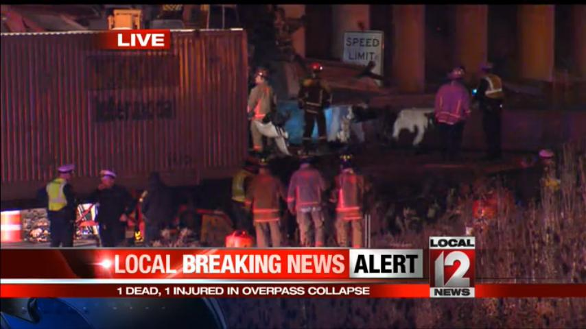 UPDATE: 1 dead, 1 injured in overpass collapse on I-75. Stay with us for the latest: http://t.co/x627luW6Nb http://t.co/SAVari9BSj