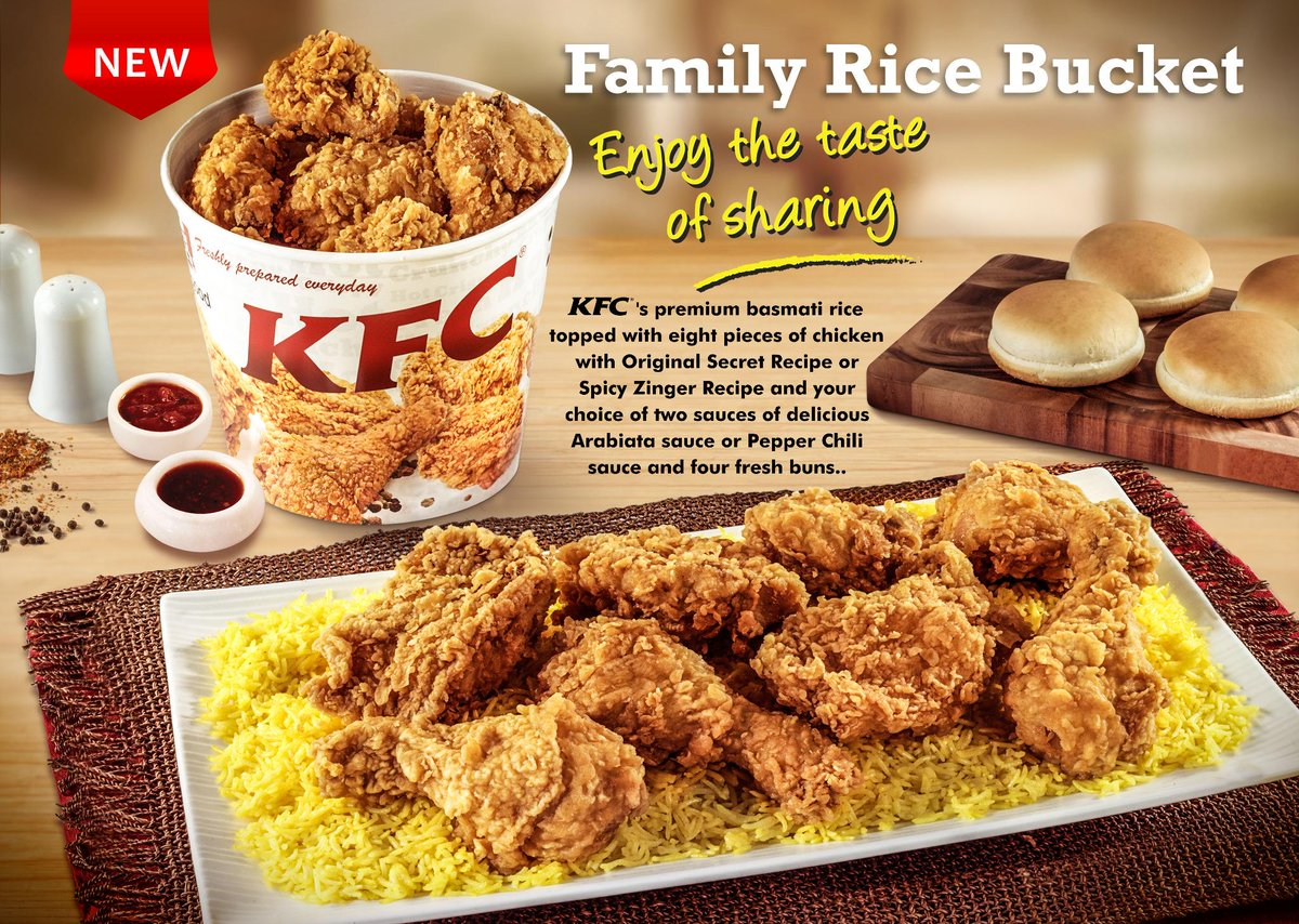 KFC Arabia On Twitter Have You Tried Our Family Rice Bucket The Secret Recipe With Basmati For First Time In A Meal