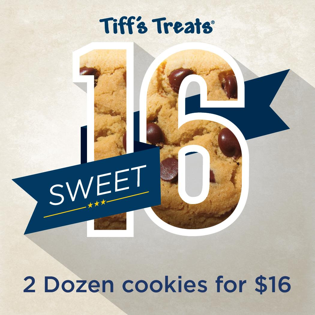 Happy Sweet 16! Get 2 doz warm cookies for $16 this week only using code SWEET16T. All we want for our BDay is a RT! http://t.co/aIjKnNYqgM