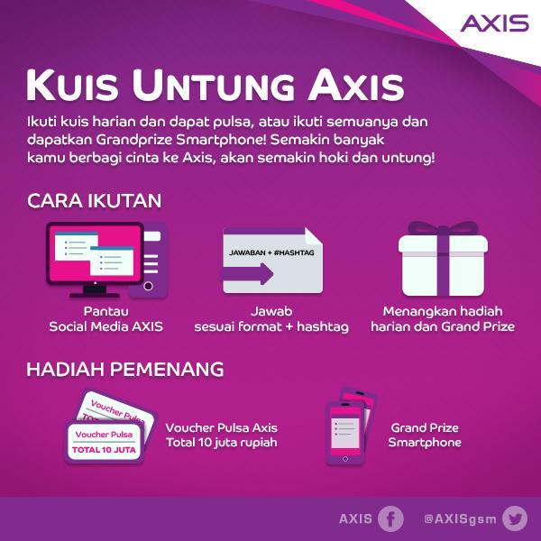 Siap-siap yuk, ikutan #KUA Kuis Untung AXIS! Mulai hari ini sampai tanggal 11 Februari 2015. RT dulu dongs :) http://t.co/XPzlPKZ8MF