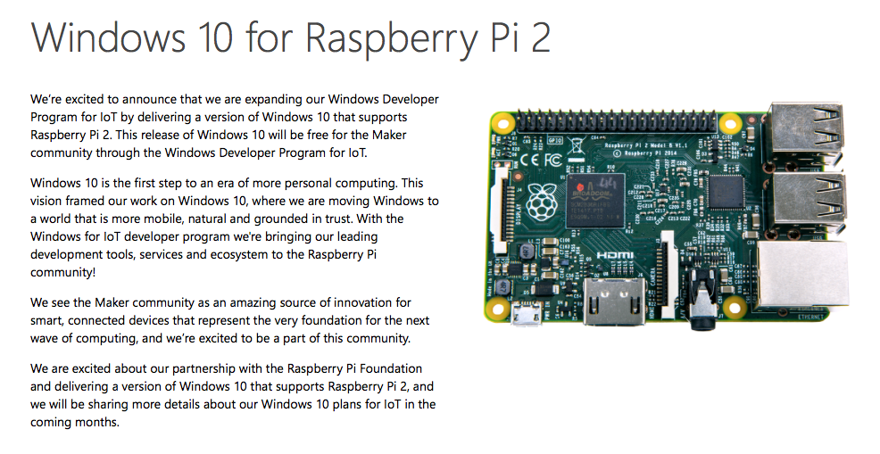 Microsoft are announcing a free version of Windows 10 for Raspberry Pi http://t.co/SJLGx4Wl7O http://t.co/G3czKP2y2N