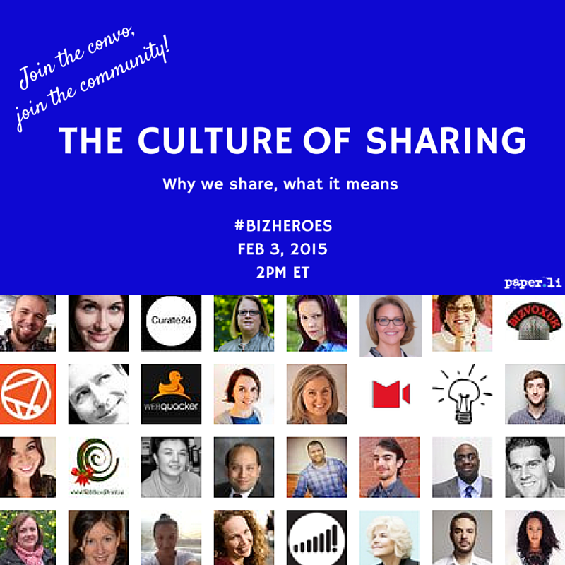 Join us for a Tweet chat on The Culture of Sharing w/ the #BizHeroes community https://t.co/KouJDeVwgk Tues, 2pm ET! http://t.co/QxnLuggz7k