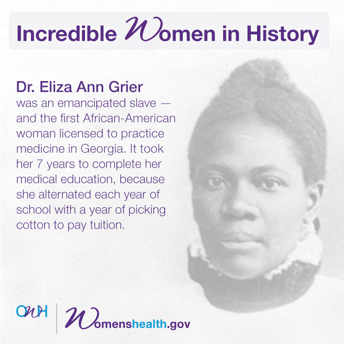 SPREAD THE WORD! Dr. Eliza Ann Grier, we celebrate you. http://t.co/z2egBYoShr #blackhistorymonth #IncredibleWomen http://t.co/Jb4W6A8odF