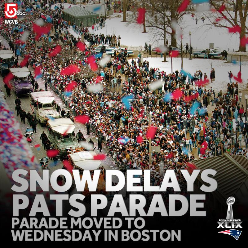 #BREAKING: #Patriots championship parade moved to Wednesday due to weather. http://t.co/IJpFeCTWsY