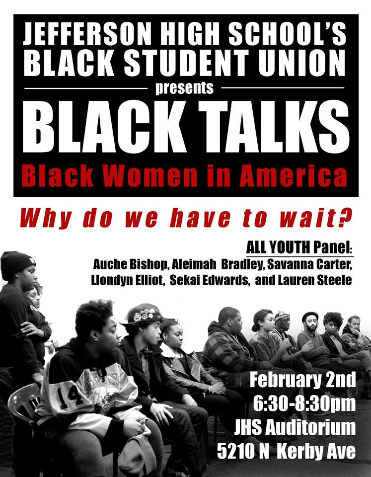 Today @ 6:30 PM, the Jefferson High BSU presents #BlackTalks - Black Women in America. #BlackLivesMatter #PDX