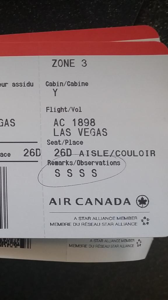 This is a new @AirCanada boarding pass for a later flight, that's now scheduled 5 hours from now. Note it has SSSS. http://t.co/43LoYu5vYn