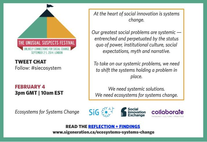 Tackle systemic problems: shift systems holding them in place. Tweet chat FEB 4 via #siecosystem on #systemschange http://t.co/bdEMVK5KUm