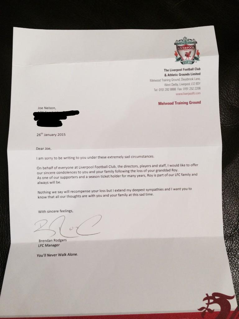 Class Brendan Rodgers Sends Personal Condolence Letter To