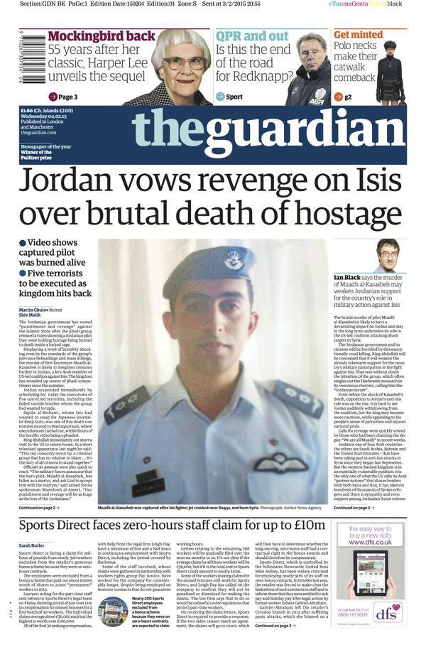 """@DrBaha: Today's Front page of The Guardian @guardian #Jordan vows revenge over brutal death of pilot.  #كلنا_معاذ http://t.co/neyOASR4Bg"""