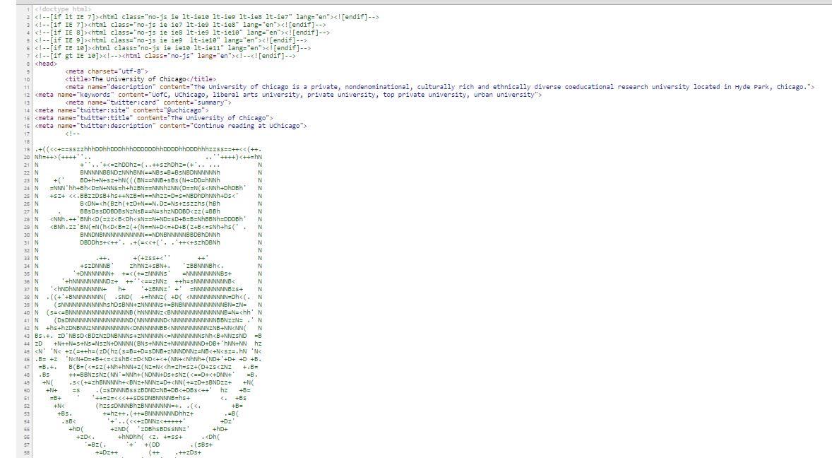 ちなみにこうなってます。 RT シカゴ大学のHPのこだわりは、実はソースコードを見ないと分からないんですよ・・・。 view-source:http://t.co/nTPwIDhLOy http://t.co/LGapYiuEf3