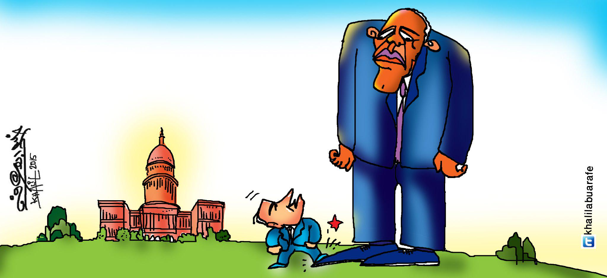 bibi netanyahu steps on obama's toe