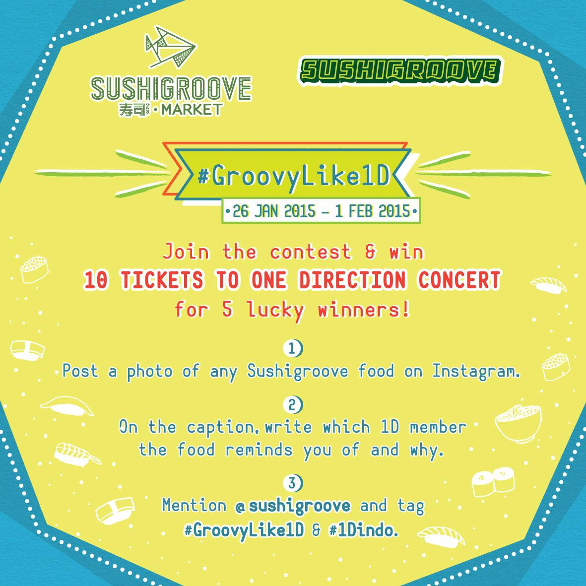 Win 10 tickets to #OneDirection's concert! Follow @Sushigroove on Instagram & join #GroovyLike1D! https://t.co/lbjPbZxKfx :D #1Dindo