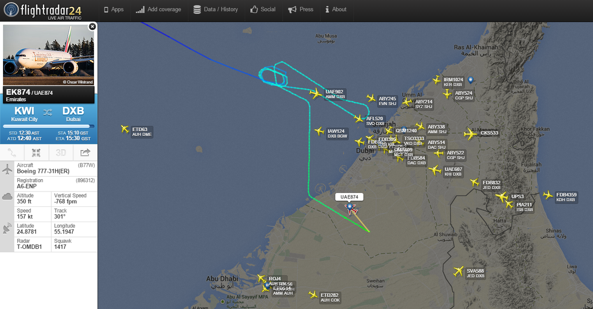 Flightradar24 on twitter emirates ek874 diverted to dubai world flightradar24 on twitter emirates ek874 diverted to dubai world central when dubai international was closed because of drone in airspace gumiabroncs Choice Image