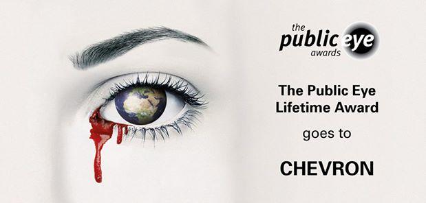 """Ambiente: """"Public Eye Lifetime Award"""" il premio della vergogna è stato consegnato venerdì a Davos alla Chevron"""