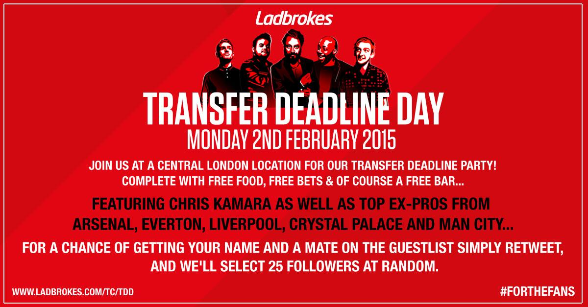 We're having a Transfer Deadline Day Party and you could be there... #ForTheFans http://t.co/3nXjGGpwjW