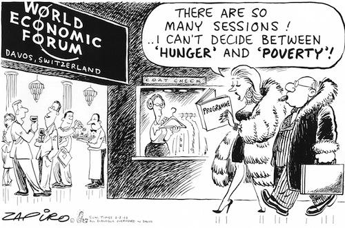 World Economic Forum and poverty, cartoon