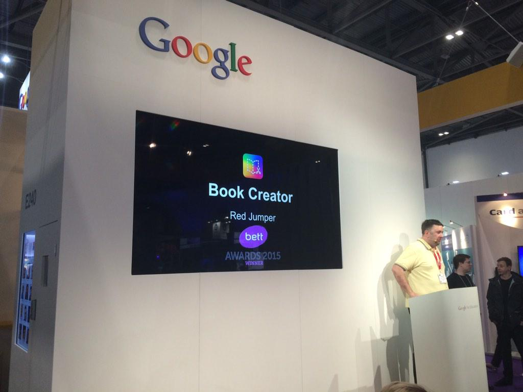 Thanks to @ICTEvangelist for doing a snappy presentation on Book Creator at #Bett2015 today. #edtech #androided http://t.co/Ut8GturNZW