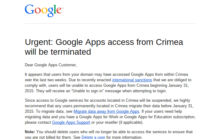 just got this from @Google cutting off access to gmail for our employees in Crimea. terrible! who's writing about it? http://t.co/rX4mlCDanF