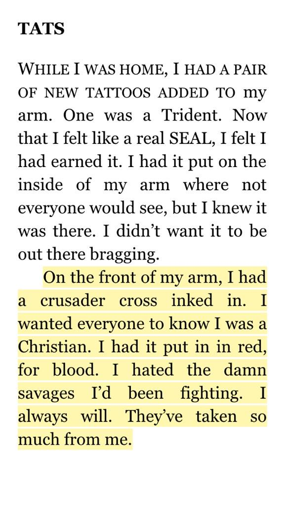 """Chris Kyle was a religious crusader who mowed down Iraqi """"savages"""" in the name of Christ. #AmericanPsycho http://t.co/SbHNbcI8xK"""