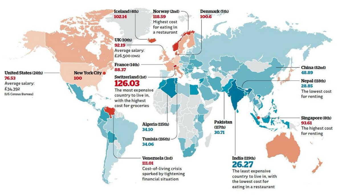 Indy On Twitter Map The Cost Of Living Across The World Http - Cost of living map us