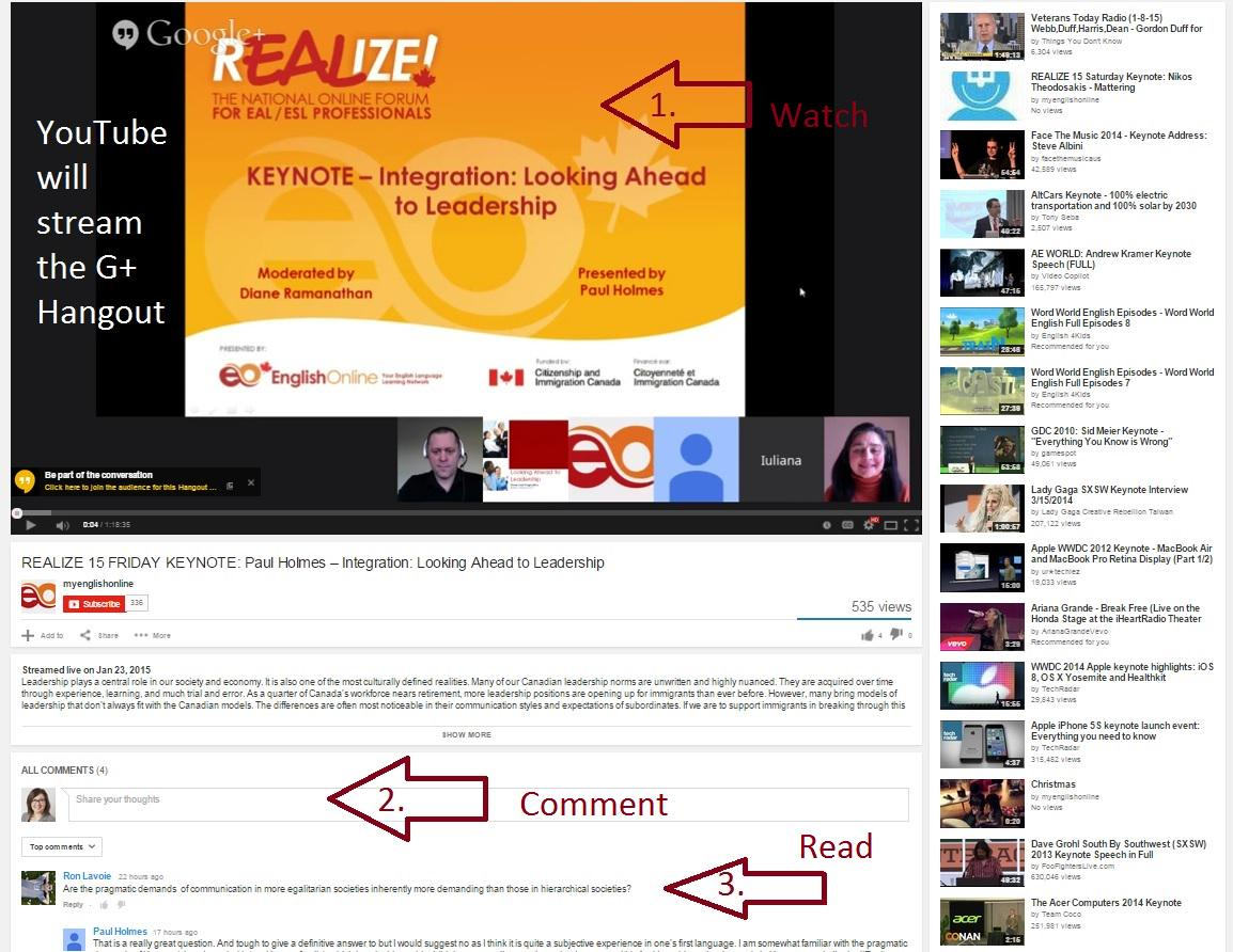 #realize15 Another way to view the Keynote speaker is to watch the stream from YouTube.  You can also comment here. http://t.co/gJabhVBXu6