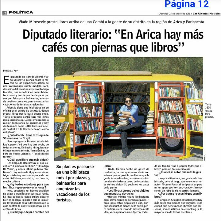 Muy bien ahí @vladomirosevic con tu biblioteca móvil.  Éxito con tu proyecto http://t.co/F0ZxerVoN4