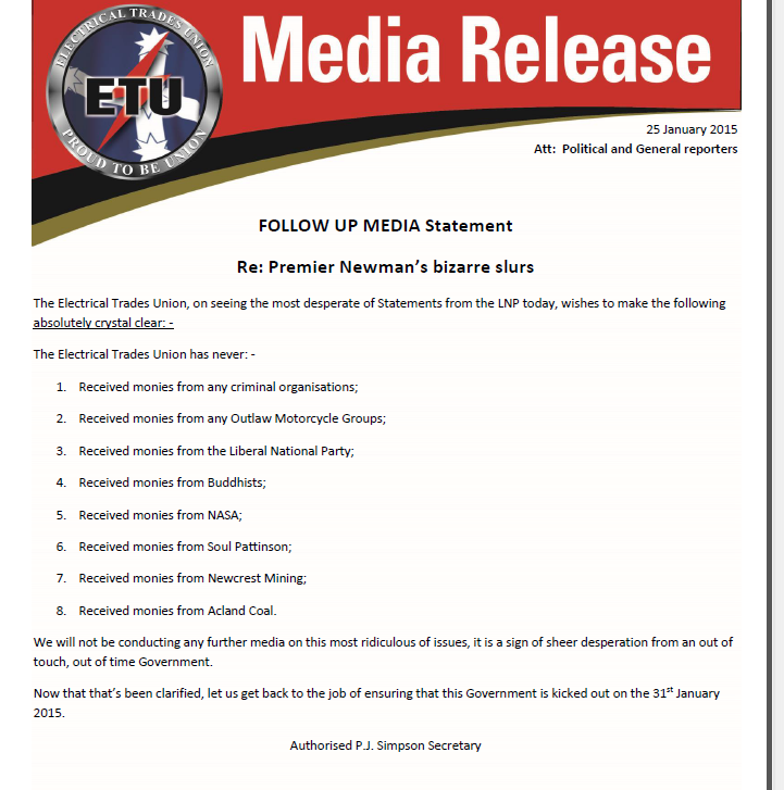 """Latest ETU statement on donations. """"The ETU has never received monies from Buddhists"""" @abcnews http://t.co/pmS0WBxqoE"""