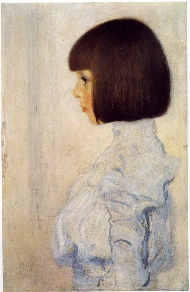 絵画史の中で、ボブカットを印象的に描いた最初の絵は、クリムトの『ヘレン・クリムトの肖像』(1898)ではないだろうか。 http://t.co/jp7jSc5FsQ