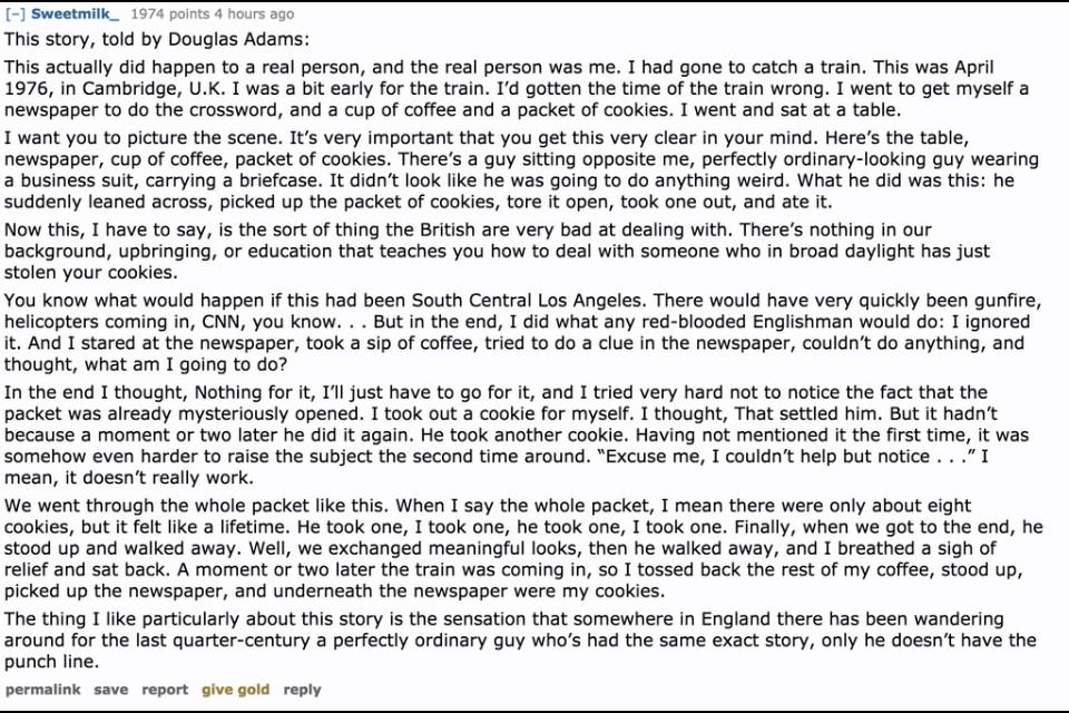 This story from Douglas Adams has been going around for years but it remains one of my favourites. http://t.co/8QnMFCylqk