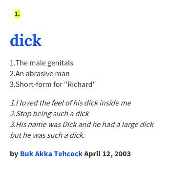 dick dictionary